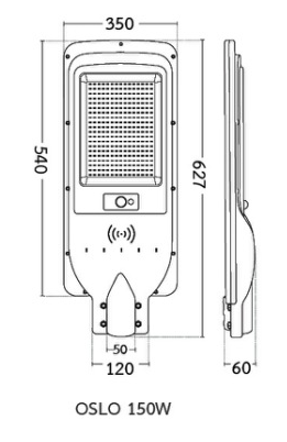 ขนาดโคมไฟถนนโซล่าเซลล์ LED 150w BEC รุ่น OSLO